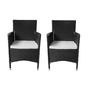 vidaXL 2x Sessel Stuhl Poly Rattan Stühle Garten Möbel Rattansessel ...