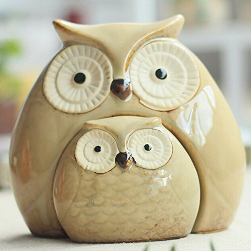 absolutely smart owl items. WOMHOPE Set of 2  Wise Owls Statues House Warming Gift Combined Figurine Tabletop Shelf Ceramic Ornaments Home Decorative Collectible Cute Owl Decor Amazon com