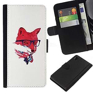 // PHONE CASE GIFT // Moda Estuche Funda de Cuero Billetera Tarjeta de crédito dinero bolsa Cubierta de proteccion Caso Sony Xperia Z2 D6502 / Red USA Hipster Fox /