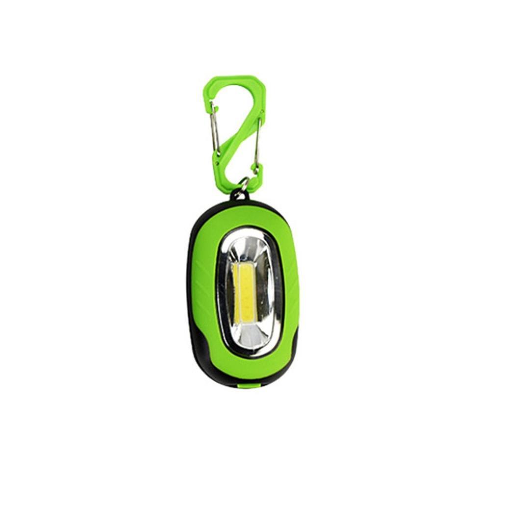 Iuhan Portable Super Mini COB Light LED FlashLight Key Ring Torch 3-Mode Keychain Lamp (Green)