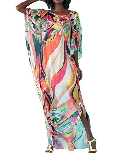 Women Artistic Colorful Floral Print Chiffon Beach Kaftan Smock Beach dress (One size, Mixed color)