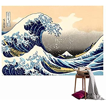 Cool Japanese Sea Wave Art Printing Tapestry Wall Hanging, Beach towel Throw, Dorm Decoration, Tablecloth Japanese Art Curtain