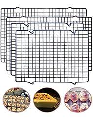"Tebery 4 Pack Cooling Racks Set Baking Racks - 16"" x 10"" & 11"" x 10"" (Black)"