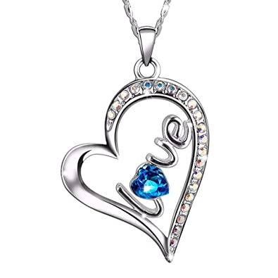 b25cbf596 Amazon.com: SIVERY Forever Love Women Necklace Pendant with Swarovski  Crystal, Jewelry for Women Gifts for Mom: Jewelry