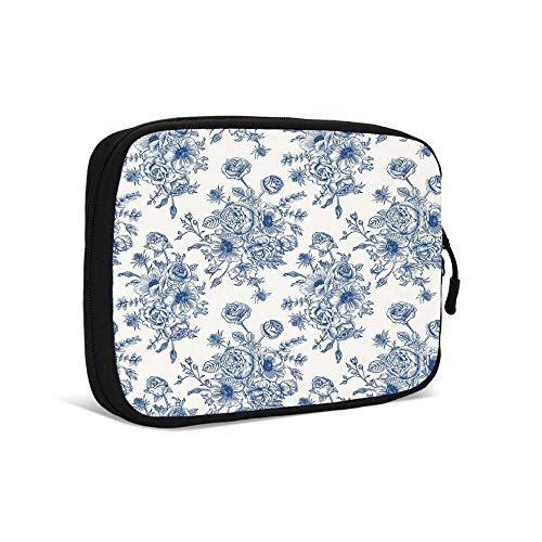- Anemone Flower Practical Data Storage Bag,Floral Pattern with Bouquet of Blue Flowers Delicate Victorian Design Decorative for Traveling,9.0