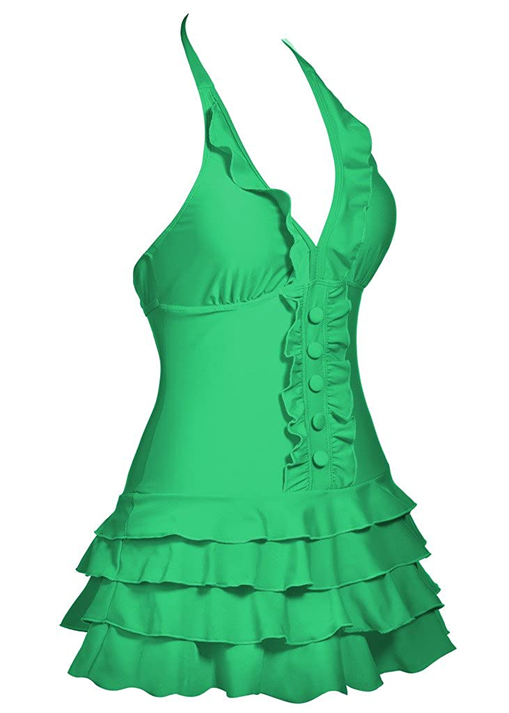FBA COCOPEAR Womens Cover Up One Piece Swimsuits V-Neck Push Up Skirted Swimdress