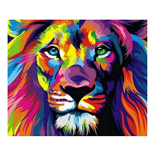5D DIY Diamond Painting - Animal Resin Cross Stitch Kit - Crystals Embroidery - Home Decor Craft (Lion) (Paintings Animals)