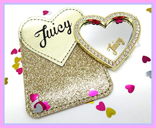 Juicy Couture Gold Bling Cell Phone Card Pocket Holder and Crystal Heart Mirror Peel and Stick On Combo Set $40