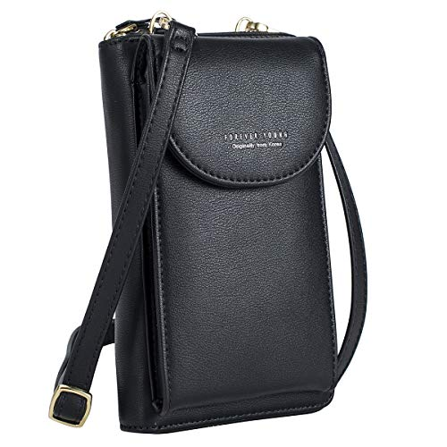S-ZONE PU Leather Cellphone Wallet Clutch Purse Zippered Crossbody Bag Phone Pouch (Black)