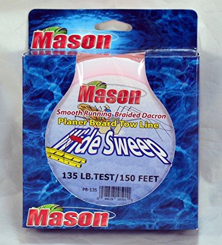 Mason Tackle Wide Sweep Planer Board Tow Line Fluorescent Orange 200# 150' PB-200
