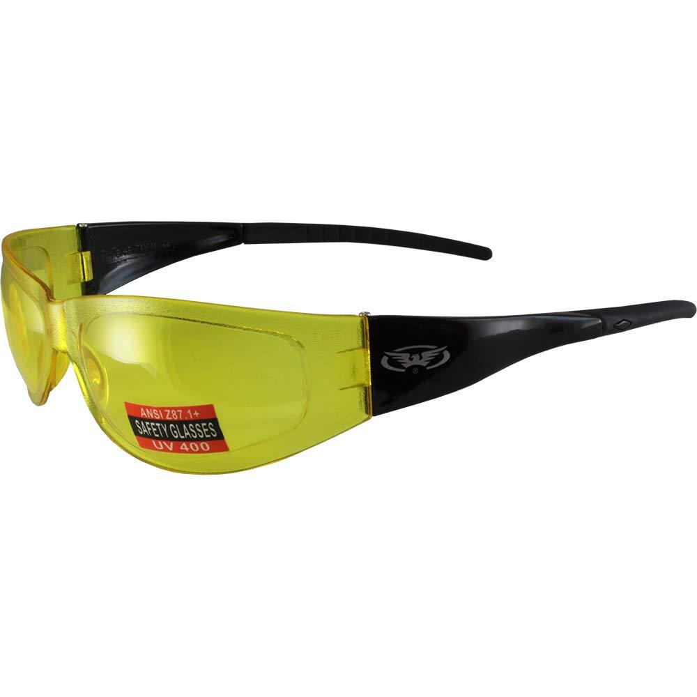Global Vision Player Safety Glasses Black Frames Yellow Lens ANSI Z87.1-2010