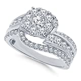 Real Diamond Engagement Ring 14K White Gold 1.65 TCW Center .16 Carat Diamond Ring Fine Diamond Jewelry