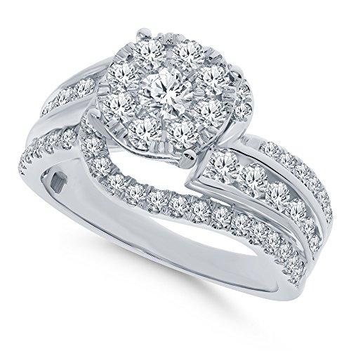 Real Diamond Engagement Ring 14K White Gold 1.65 TCW Center .16 Carat Diamond Ring Fine Diamond Jewelry by Wholesale Diamonds (Image #5)