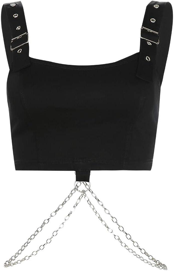 Rebecca Women's Reflective Crop Top Rave Dance Club Tank Vest for Teen Girls