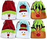 6pk Small Drawstring Plush Fabric Christmas Gift Treat Bags (santa/snowman/reindeer)