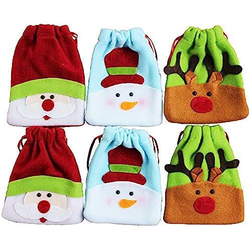 6pk small drawstring plush fabric christmas gift treat party favor bags santasnowmanreindeer - Small Christmas Gifts
