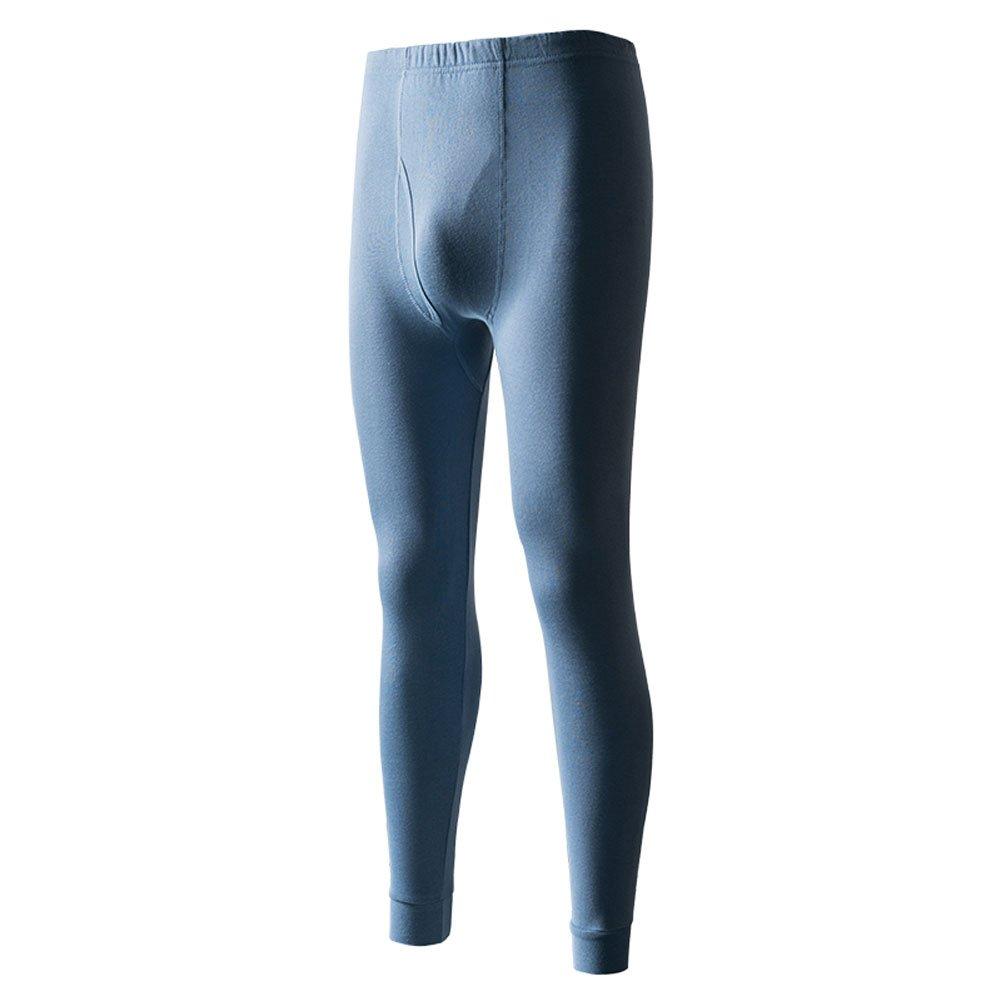 Men's Light Weight Wicking Cotton Thermal Pant Long John Bottoms (M, Blue Grey)