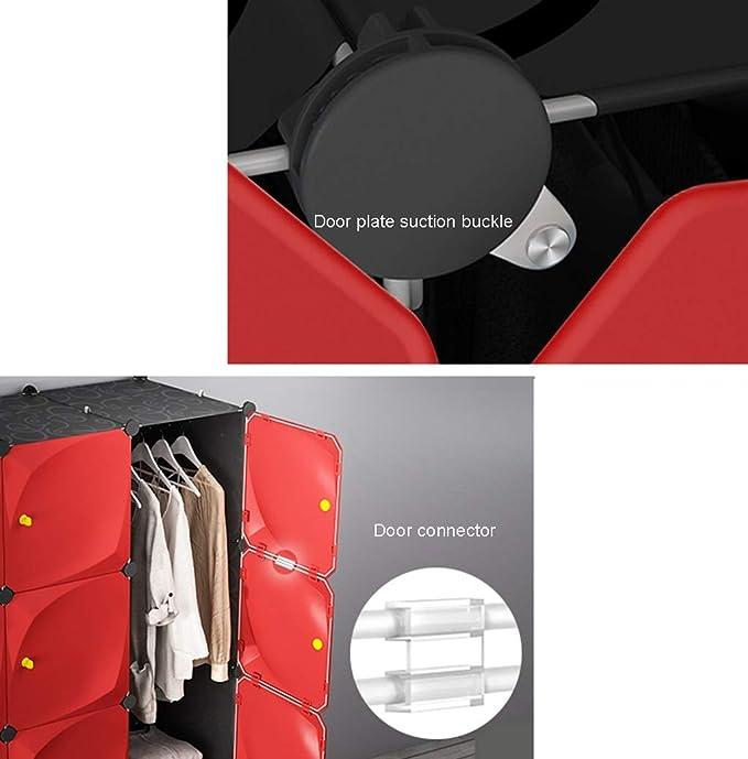 DIY Armario portátil for Colgar la Ropa, Armario Modular del gabinete for el Dormitorio, Ideal plástico Organizador del almacenaje de 6-Cube Armario Negro y Rojo LIFFMallJC: Amazon.es: Hogar