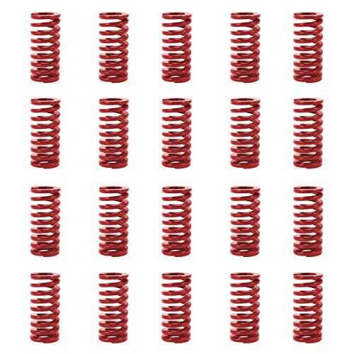 Die Compression - TinaWood 20 PCS 8mm OD 20mm Long Mid Load Compression Mould Die Spring Red for 3D Printer