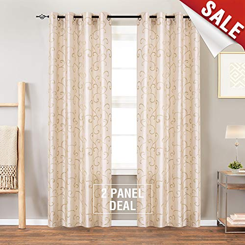 Faux Silk Swirl Embroidered Sheer Curtains for Bedroom Embroidery Curtain for Living Room 84 inch Length, 2 Panels, Ivory
