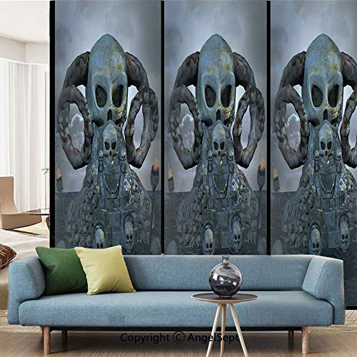 AngelSept Window Films Privacy Decorate,Spooky Scary Throne with Many Skulls Horns and Torches Graves Death Ghosts Theme,W15.7xL63in,for Home Office,Bluegrey Silver