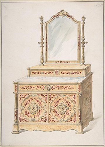 Fine Art Print | British, 19th Century | Design for a Marble-Topped Cabinet and Mirror | Vintage Wall Art | 16in x 24in