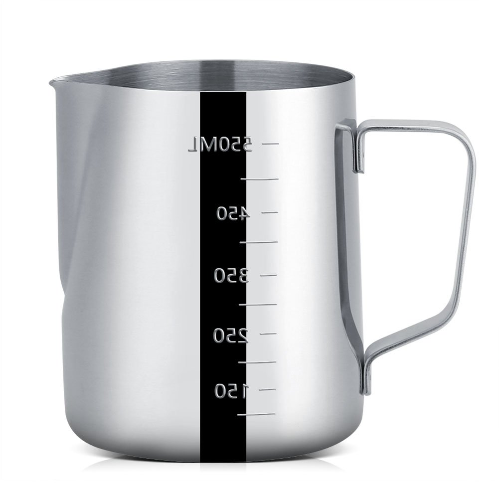 Milk Frothing Pitcher, Stainless Steel Frothing Cup with Measurement for Espresso Coffee Maker, Latte Art, Cappuccino Maker (600ml)
