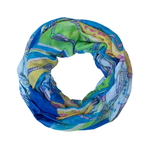 GERINLY Chain Vintage Pattern Womens Cozy Infinity Loop Scarf (Blue) (Framed Tea Party)