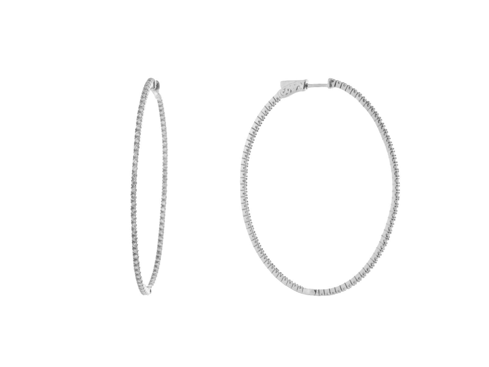 Fronay Co .925 Sterling SIlver Large Inside-Out CZ Oval Hoop Earrings