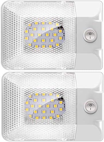 Shinepick Led Innenbeleuchtung Auto Kfz Innenraumbeleuchtung Dc 12v 600lm Rv Deckenleuchte Innenlampe Mit On Off Schalter Universal Beleuchtung Für Auto Rv Lkw Wohnwagen Wohnmobil Boot 2er Pack Auto