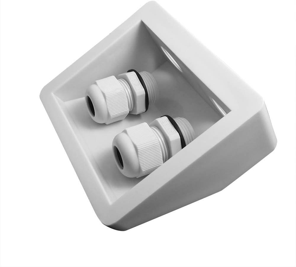 NUZAMAS - Caja impermeable para glándula de entrada de cable doble, para panel solar, antena parabólica, caravana, autocaravana, camping, furgoneta, ...