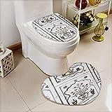 Printsonne 2 Piece Toilet lid cover mat set agra utta pradesh india february inlaid work of color marble stone Soft Shaggy Non Slip