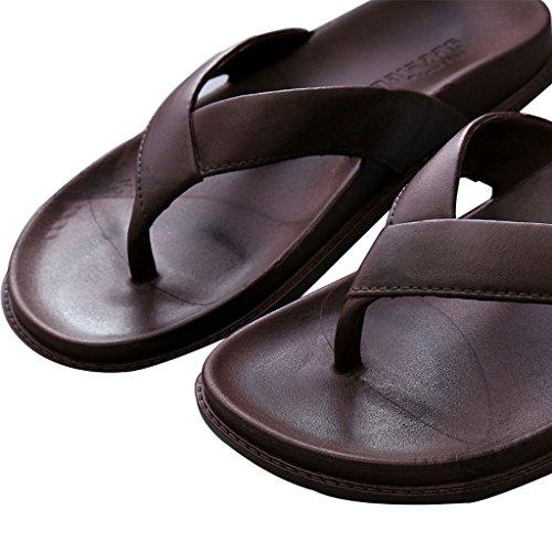 Flops Baño Desgaste Suela Resistentes Flip Goma de Men's Toes al Pantuflas Marrón Summer Beach Zapatillas Antideslizante Home Sandalias Clip ZF6nt