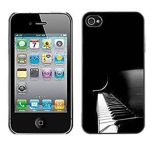 PC/Aluminum Funda Carcasa protectora para Apple Iphone 4 / 4S Piano Keys Black White Music Instrument / JUSTGO PHONE PROTECTOR
