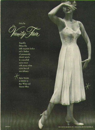 Slip Bodice (Superbly fitting exquisite bodice & pleated panels Vanity Flair slip ad 1953)