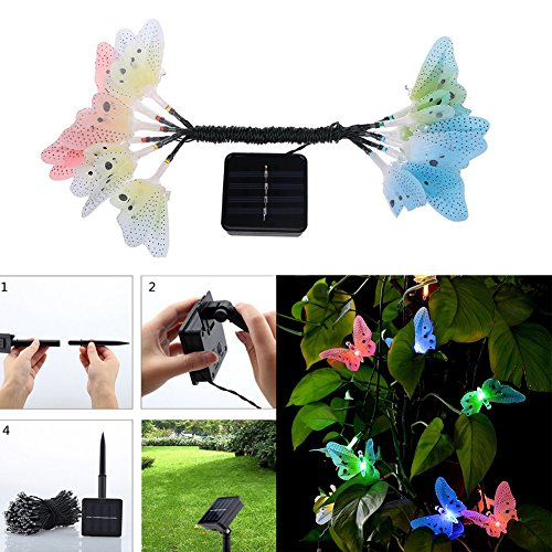 Yvonne 12 LED Outdoor Garden String Lights Solar Powered Butterfly Fairy Lights for Garden Party Home Patio Decorations by Yvonne