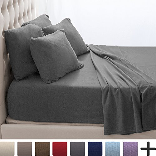 Price comparison product image Fleece Super Soft Premium Sheet Set - Extra Plush Pill-Resistant All Season Cozy Breathable Hypoallergenic (Full, Grey)