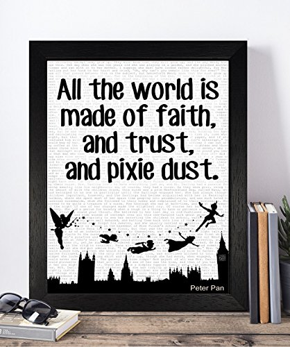 Wendy From Peter Pan Costume For Adults (Presents Gifts For Teens Kids Boys Girls Peter Pan Lovers Fans Birthday Christmas Xmas Vintage All The World Is Made Of Faith Prints Posters Wall Art Home Decorations)