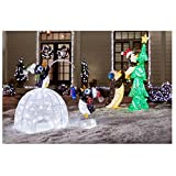 62 in. LED Lighted Tinsel Penguins with Tree and 48 in. LED Lighted Tinsel and Acrylic Igloo with Fishing Penguins