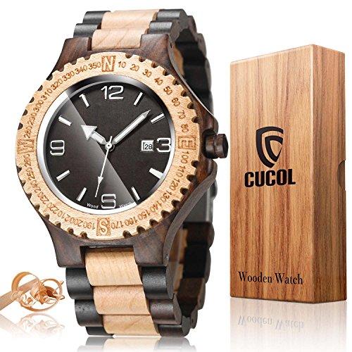 CUCOL Mens Black White Sandalwood Watch Japanese Quartz Movement Date Display Lightweight Vintage Wristwatch Groomsman Gift (Quartz Japanese Watch Movement)