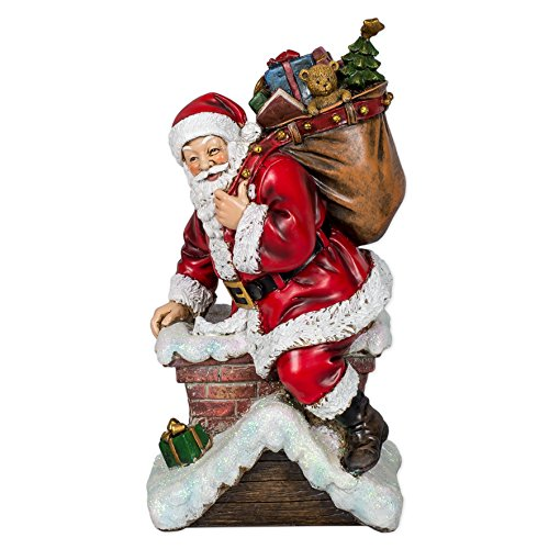 Vintage Santa Down the Chimney 11 x 6 inch Christmas Sculpture (Vintage Christmas Figurine)
