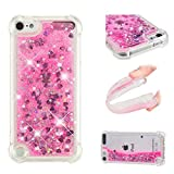iPod Touch 7 / iPod Touch 6 / iPod Touch 5 Case, ZERMU Shockproof Transparent Colorful Heart Durable Moving Liquid Sparkling TPU Bumper Bling Quicksand Flowing Glitter Cover Case for iPod Touch 5/6/7