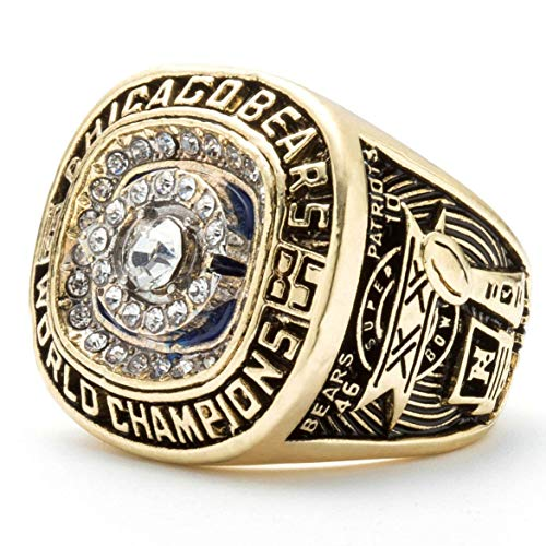 MVPRING Super Bowl 1966-2019 Replica Championship Ring (Size 11) New England Patriots Philadelphia Eagles Denver Broncos Chicago Bears Seattle Seahawks Green Bay Packers (Size 10, 1985 Chicago Bears)