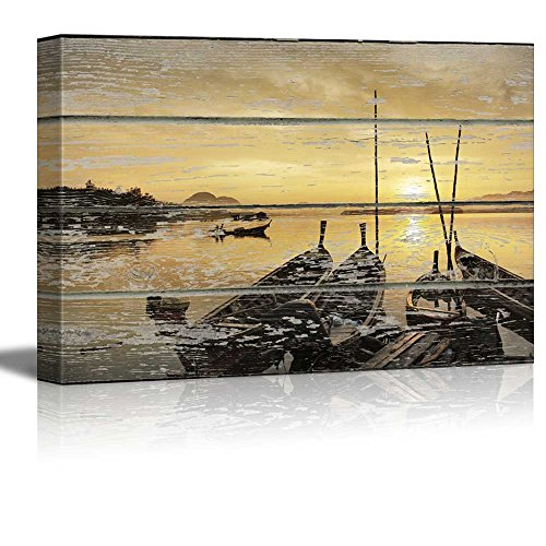 Sunset on the Lake on Vintage Wood Textured Background Rustic Country Style