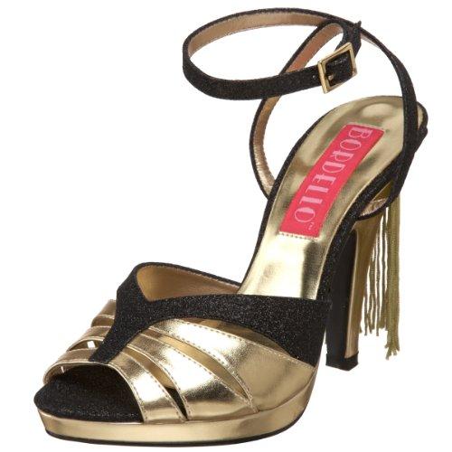 Bordello By Pleaser Womens Siren-05g Sandalo Nero Glitter-oro Pu