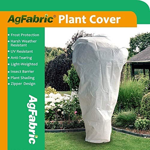 "Agfabric Plant Cover Warm Worth Frost Blanket – 1.5 oz Fabric 300""Hx300""W Shrub Jacket, Rectangle Plant Cover Zipper Season Extension&Frost Protection"