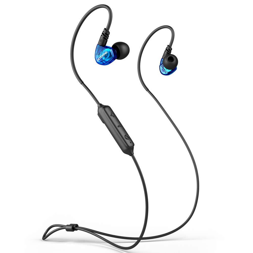 ROVKING Ear Buds Wireless Headphones 5.0 10H Play Bluetooth Headset with Mic, IPX5 Sweatproof Sport Earbuds for Running Gym Workout, Bass Stereo Over Ear in Ear Earphones for Cell Phones Laptop Blue
