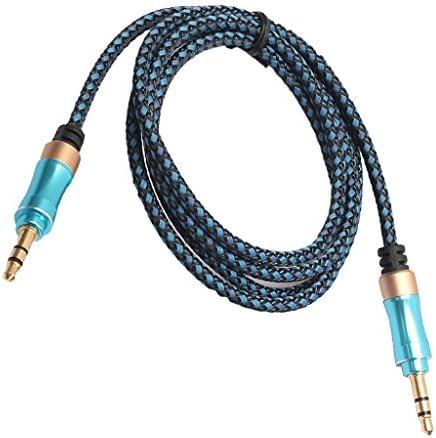 カーステレオ用 3.5mm ステレオオーディオケーブル オス-オス AUX ケーブルコード 青