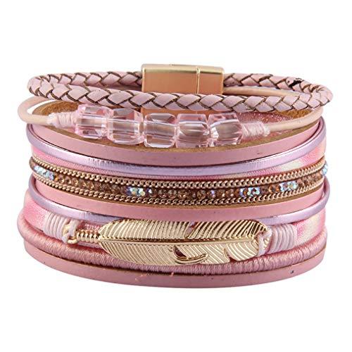 - Bfiyi Leather Cuff Bracelets Boho Multilayer Braided Wrap Bangle Handmade Wristbands Feather Bracelet for Women,Girls,Wife,Mom,Kids Gift