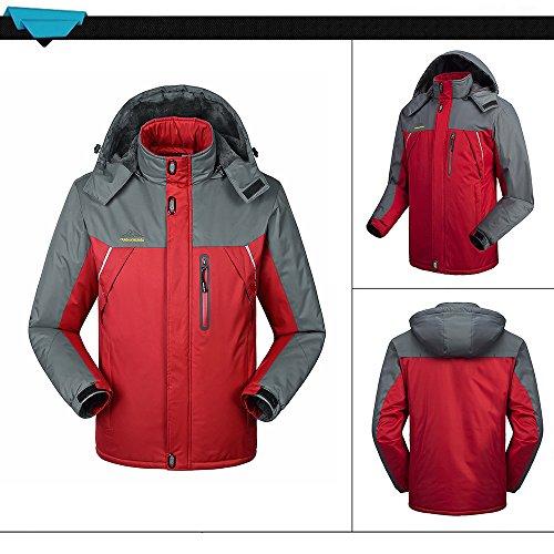 Lixada Herren Winddichte Fleecejacke Winter Outdoor Sport Wasserdichte Skijacke Mantel Camping Wandern Skifahren Laufen Klettern. Rot-XL